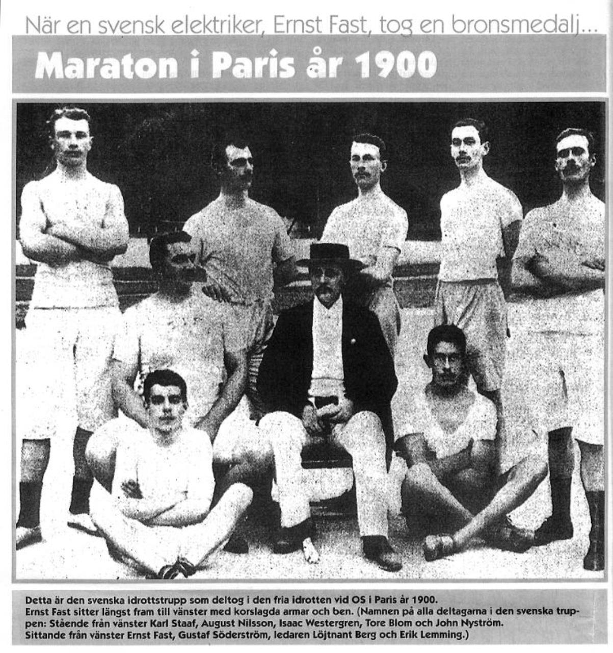 En bild på en gammal tidningsartikel med rubriken: Maraton i Paris 1900