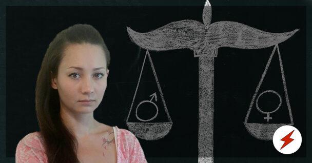 En bild på Danielle Araki, monterad över en kritteckning av en våg med tecknen för manligt och kvinnligt i vågskålarna