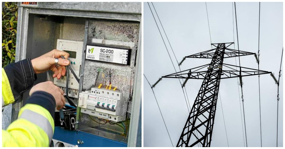 En elektriker som arbetar ii ett elskåp, bredvid en bild på elledningar i luften.