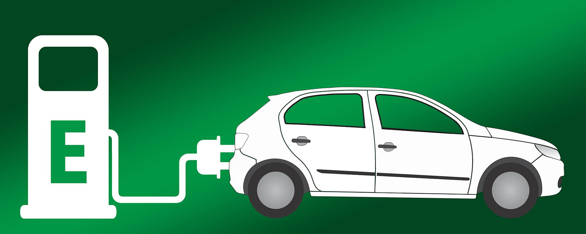 En tecknad ikon av en bil som laddas med en sladd