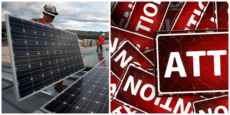Personer arbetar med solpaneler på tak, monterat invid en samling varningsskyltar