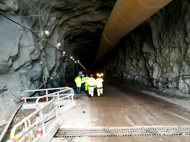 BIlden föreställer ryggarna på en grupp personer i gula reflexjackor, som är på väg in i en mörk tunnel. I tennelns tak löper tii stort rör och i förgrunden på bilden syns avspärrningsräcken i metall.