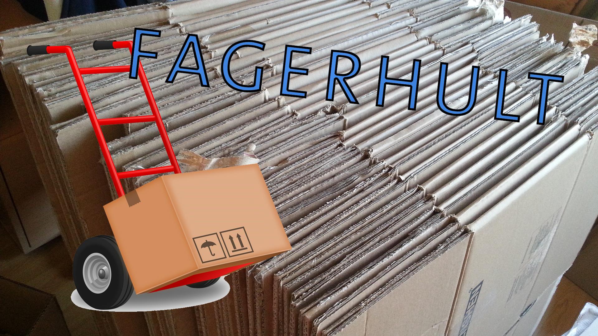 Bilden föreställer Fagerhults logotyp och en tecknad flyttkärra, monterade över ett foto på en samling ihopvikta flyttkartonger.