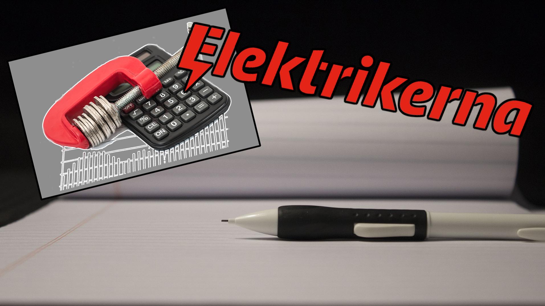 Bilden föreställer ett linjerat skrivblock med en klick-blyertspenna liggandes ovanpå. Över bilden är monterat en mindre bild av en kalkylator och en tving som pressar ihop en trave mynt, samt Elektrikerförbundets logotyp.