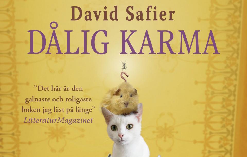 Bilden föreställer överdelen på ett guld bokomslag, med textren David Safier, Dålig Karma högst upp. Nedanför är en bild på en vit kattunge med ett marsvin på huvudet, som i sin tur har en mask och en myra ovanpå sig. Bredvid djuren är recensionstexten: Det här är den galnaste och roligaste boken jag läst på länge, LitteraturMagazinet.