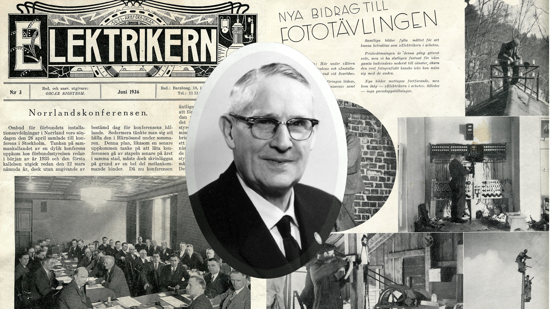 Bilden föreställer ett gulnat tidningsuppslag med rubrikerna Elektrikern, Norrlandskonferensen och Nya bidrag till fototävlingen. Över bilden är monterat ett svartvitt porträtt på Axel Kallenberg.