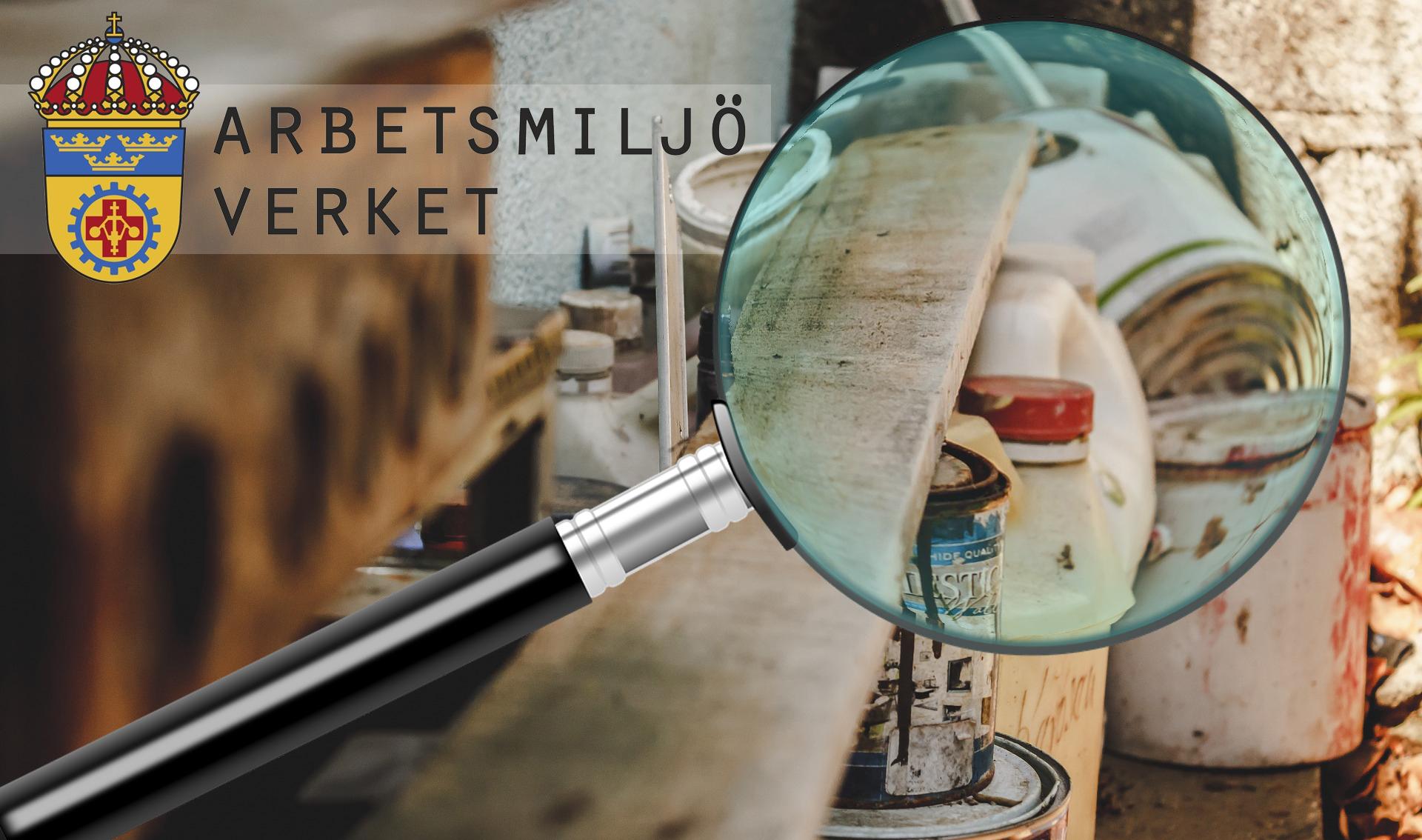 Bilden föreställer en trähylla med dunkar och färgburkar på. Monterat över bilden är ett förstoringsglas som förstorar en burk och en dunk. I hörnet ser man Arbetsmiljöverkets logotyp.