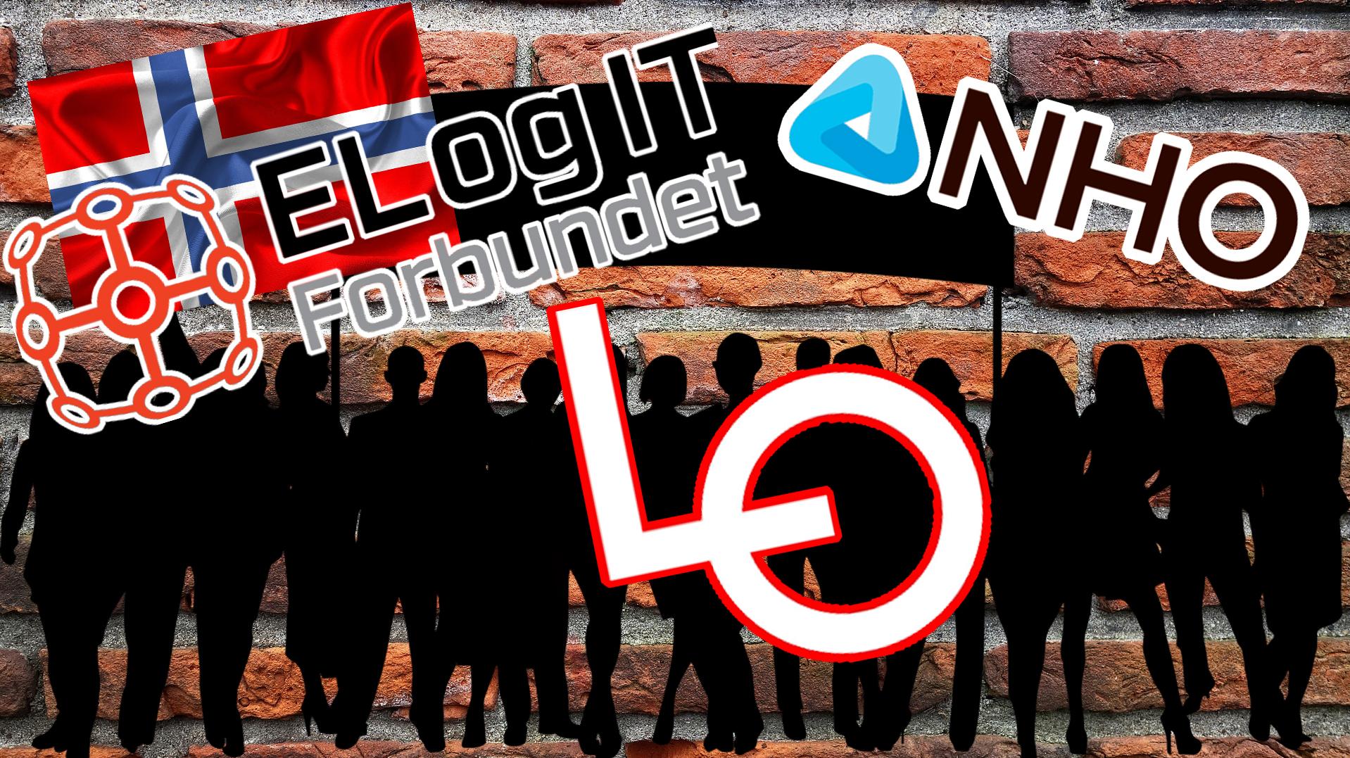Bilden föreställer en tecknad folksamling i silhuette, med höjda plakat. Över bilden är monterat den norska flaggan, samt logotyperna för El of IT-förbundet, LO och NHO.
