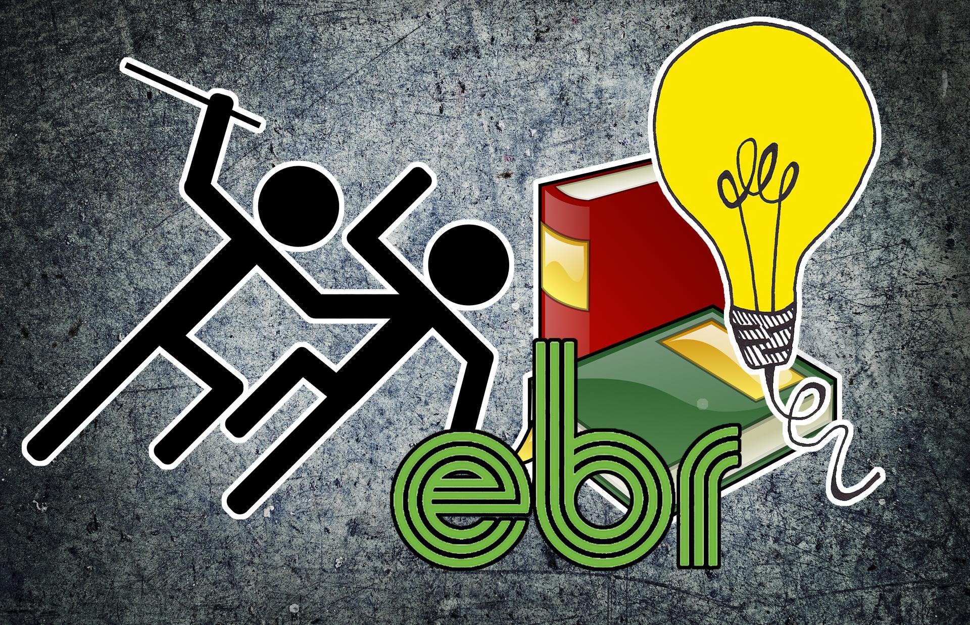 Bilden föreställer två tecknade människofigurer, varav den ena slår den andra med ett långsmalt tillhygge. Till höger om dessa finns två tecknade böcker, en tecknad tänd glödlampa och EBR:s logotyp.