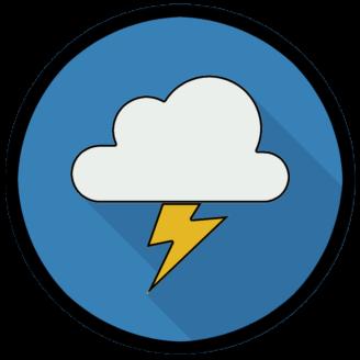En stiliserad ikon av ett blixtrande moln