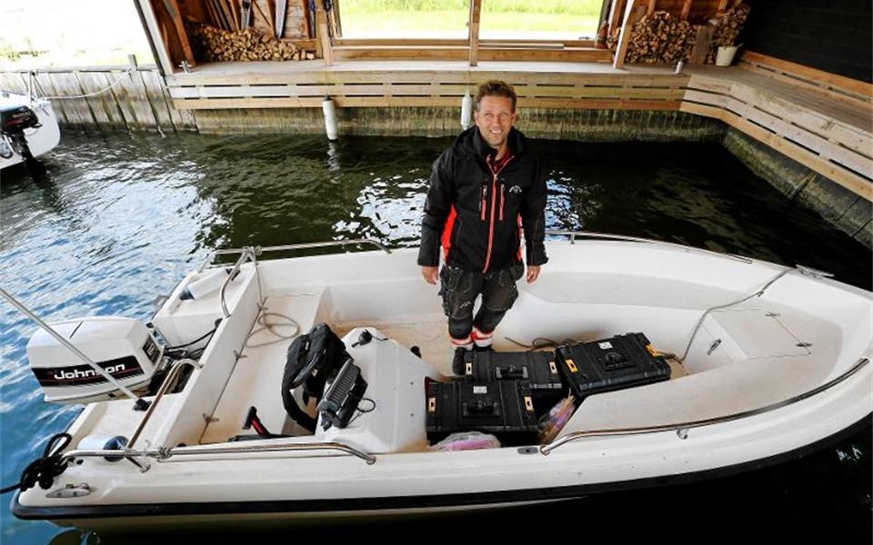 Jerry Kumlin i sin båt