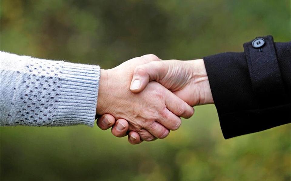 Två personer skakar hand
