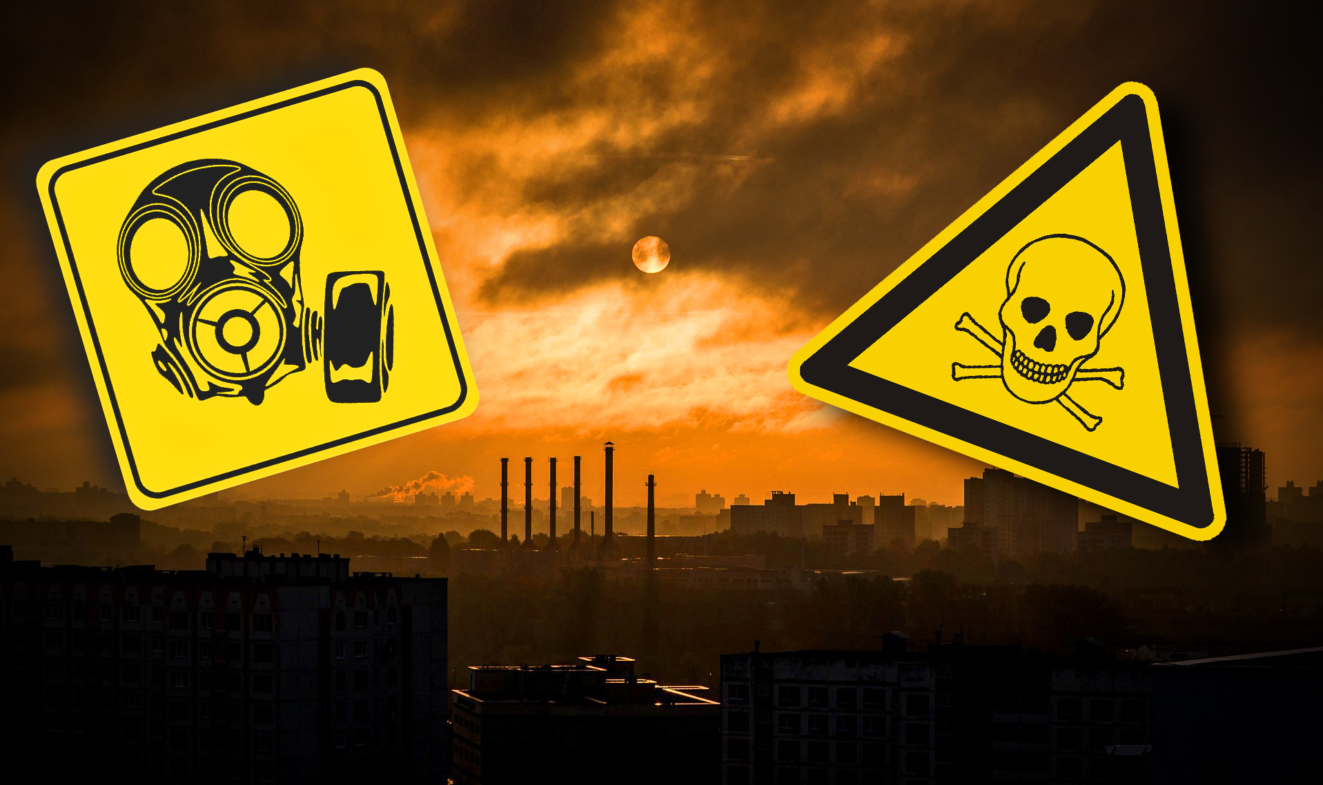 En en dimmig stad i silhuett, ed varningsskyltar monterade över