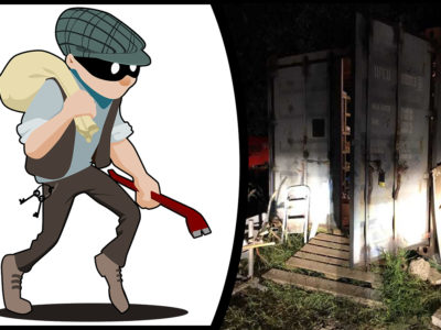 En tecknad bild av en inbrottstjuv, och ett foto av den container tjuvarna i texten bröt sig in i
