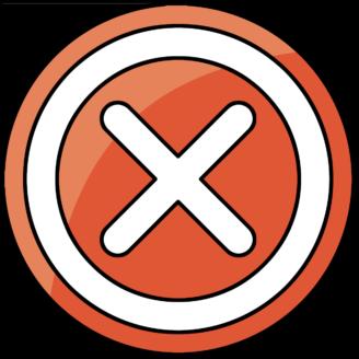 En röd ikon med ett kryss på