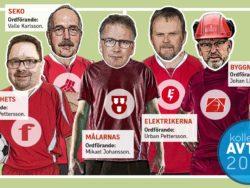 Ett fotbollslag i röda tröjor, där spelarna är 6F-förbundens respektive ordförande.