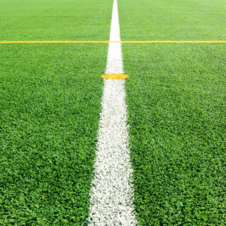 En vit mittlinje på en grön gräsmatta