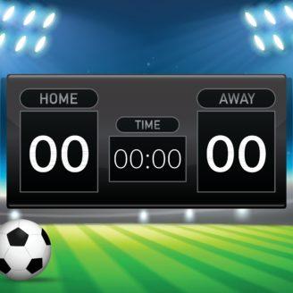 En tecknad poängtavla över en fotbollsplan