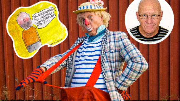 Max Claesson som clown framför en röd vägg. Inklippt ett foto på Claes och en bild från en av hans serier.