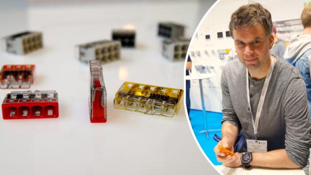 Daniel Olsson på Elmässan, bredvid en bild på produkten i artikeln.