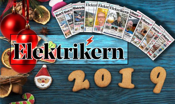 Ett bord med julsaker på, överlagt med framsidorna på årets olika nummer av Elektrikern och tidningens logga.