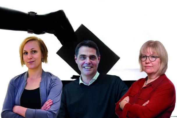 Porträttbildet av Louise Olsson, Mikael Pettersson och Tina Nordling över en bakgrund som föreställer en hand som lägger en röstsedel i en låda.
