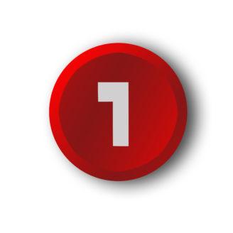 En röd knapp med en etta på