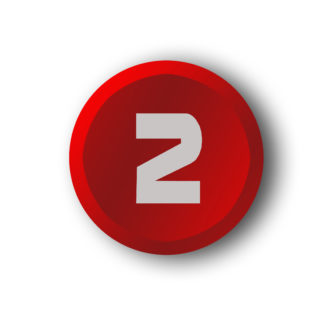 En röd knapp med en tvåa på