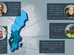 En karta över Sverige, med citat från personerna i texten.