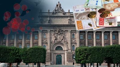 Sveriges riksdag med bilder på coronakarta och pengar monterade över