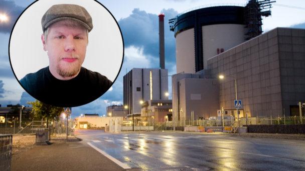 En bild på Ringhals kärnkraftverk, med ett foto av Caj Björklind monterad över.