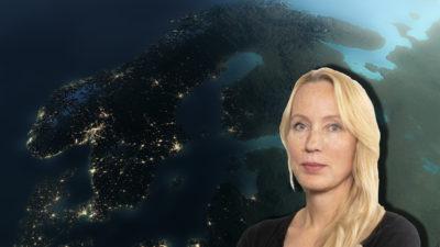 En kartbild på Sverige, med ett foto av Anna Norling monterat över