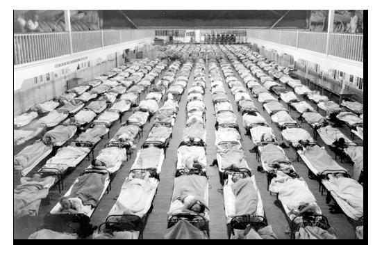 Rader av sjuksängar under Spanska sjukan