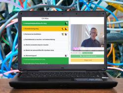 En laptopskärm med ett skärmklipp från ett digitalt möte. Pontus Boström i talarfönstret.