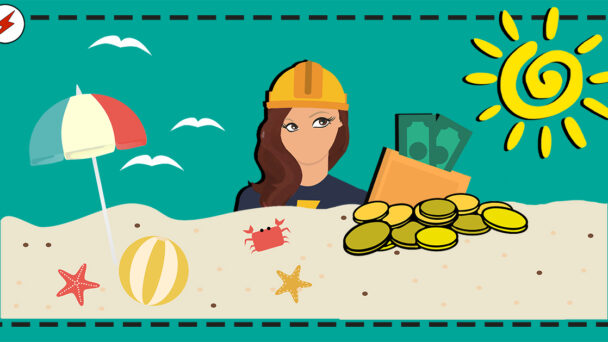 En tecknad elektriker tittar upp bakom en sandstrand, mot en plånbok med pengar i.
