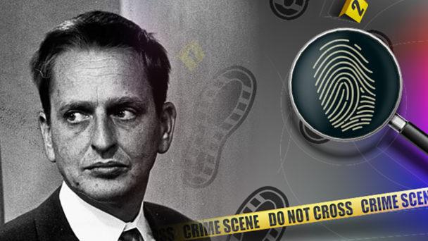 Ett foto på Olof Palme monterat invid en tecknad bild av ett förstoringsglas och fotspår