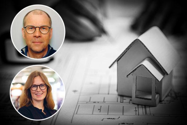 En bild på ett miniatyrhus på en ritning, med foton på Hans-Åke Lampa och Emma Elheim Karlsson monterade över.