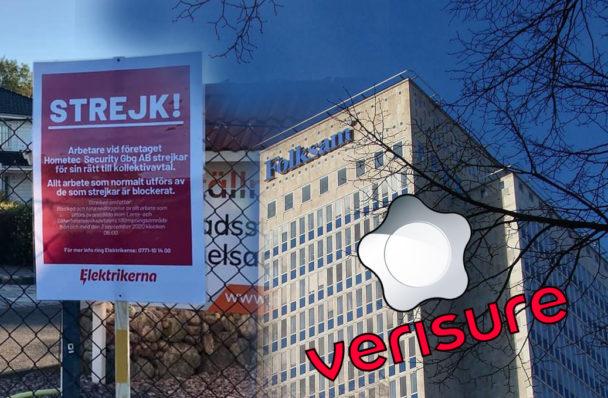 En byggnad med Folksams logga på, invid en bild på en strejkskylt och Verisures logotyp