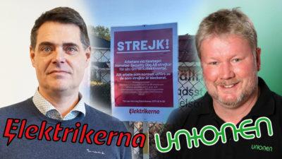 Mikael Pettersson och Jimmi Hall monterade över en bild på en strejkskylt