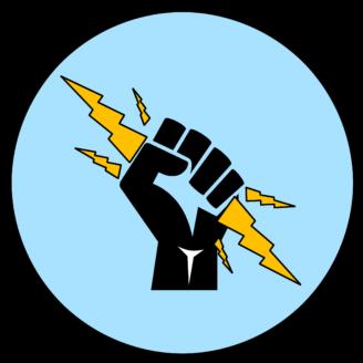 En ikon av en näve som håller i en blixt
