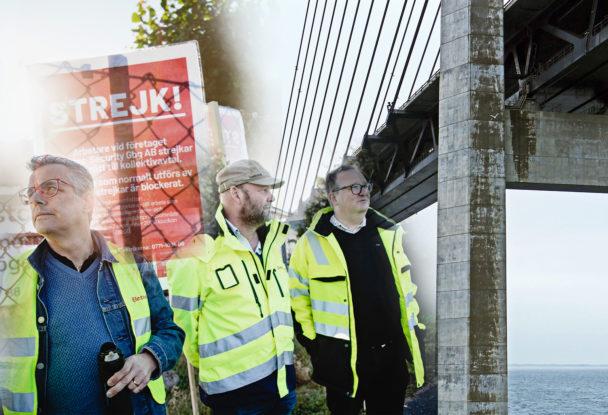 """Strejkvakterna Thomas Sandgren, Lars """"Tintin"""" Pettersson och Magnus Kindmark, monterade över en bild på Öresundsbron"""