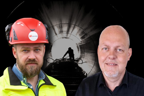 Silhuetten av en person som arbetar o em tunnel, med foton av Kim Söderström och Mats Eriksson monterade över.