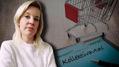 """En bild på ett blått papper där det står """"Kollektivavtal"""", med Unionens logga i hörnet, bredvid en liten kundvagn i miniatyr. Ett foto på Jenny Bengtsson är monterat i hörnet."""
