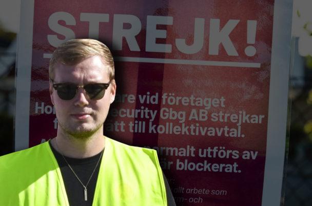 En bild på Jonas Eriksson, monterad över en bild på en strejkskylt