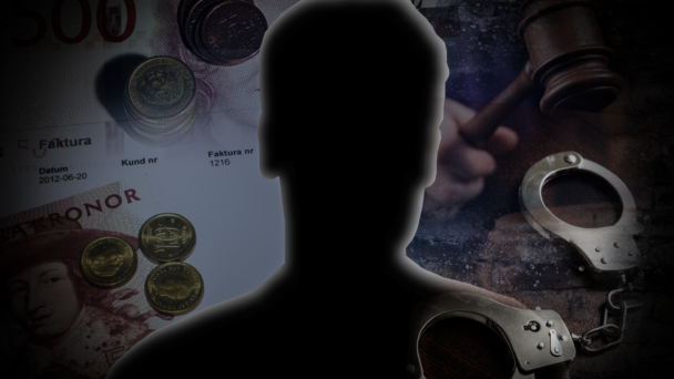 Skuggan av en man, monterad över bilder på pengar, fakturor, domarklubba och handfängsel
