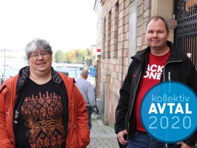 Ninni Blom och Patrik Ericsson. Monterat över bilden är en blå cirkel med texten Avtal 2020.