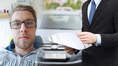 En bild på Sebastian Johansson monterad invid en genrebild på en försäljare och en bil