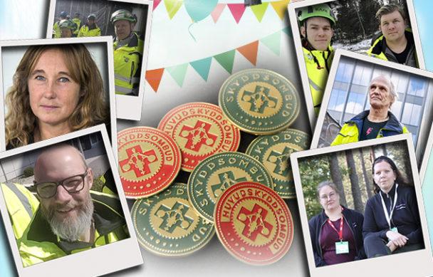 En samling skyddsombuds-badges med ballonger och bilder på skyddsombud kring