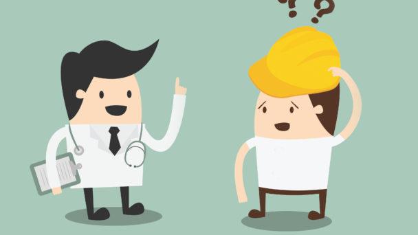 Två tecknade figurer: En läkare och en byggnadsarbetare med frågetecken ovanför huvudet