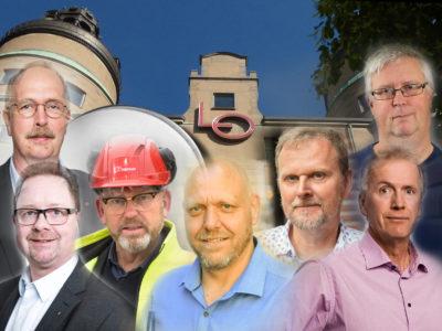 Ett montage med de sju förbundsordförandena framför LO-borgen i Stockholm